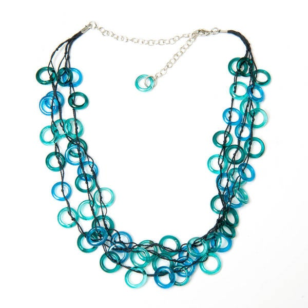 Handmade Aqua Rings Necklace (India)