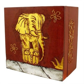 Hand-Carved Wood Elephant Box (Indonesia)