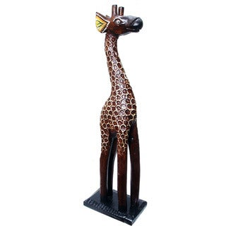 Handmade Textured Wood Giraffe Statue (Indonesia)