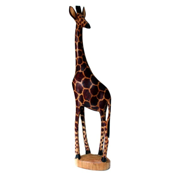 Handcarved Wooden Giraffe Statue (Kenya)