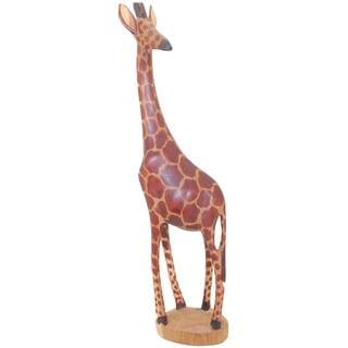 Handmade Wood Giraffe Statue (Kenya)