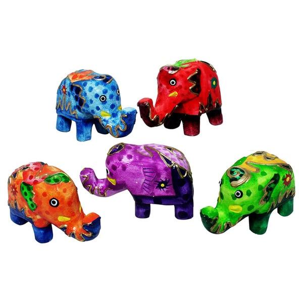 Handmade Multi-colored 5-piece Elephant Set (Indonesia)