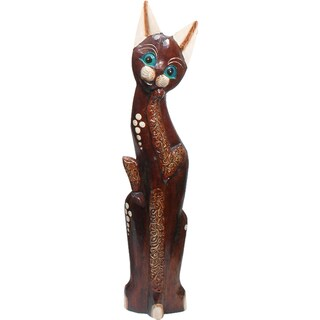 Hand-Carved Wooden 'Playful Cat' Statue (Indonesia)