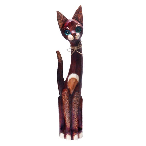 Hand-Carved Wooden 'Bow Tie Cat' Statue, Handmade in Indonesia