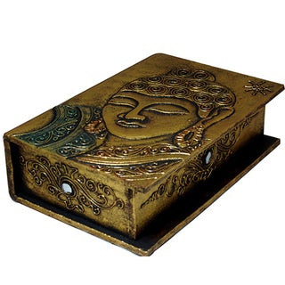 Hand-carved Goldtone Buddha Book-style Box, Handmade in Indonesia