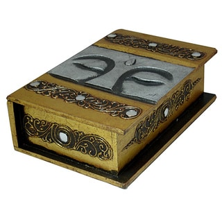 Hand-carved Buddha Eyes 10-inch Book-style Decorative Box, Handmade in Indonesia
