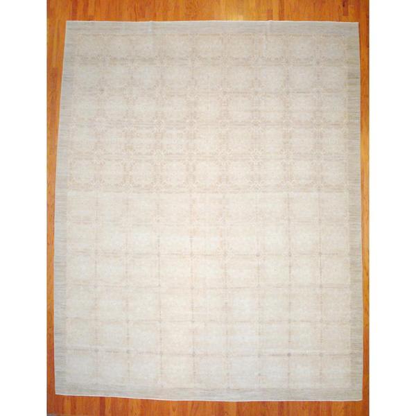 Afghan Hand-knotted Vegetable Dye Beige/ Light Brown Wool/Silk Rug (13' x 16')