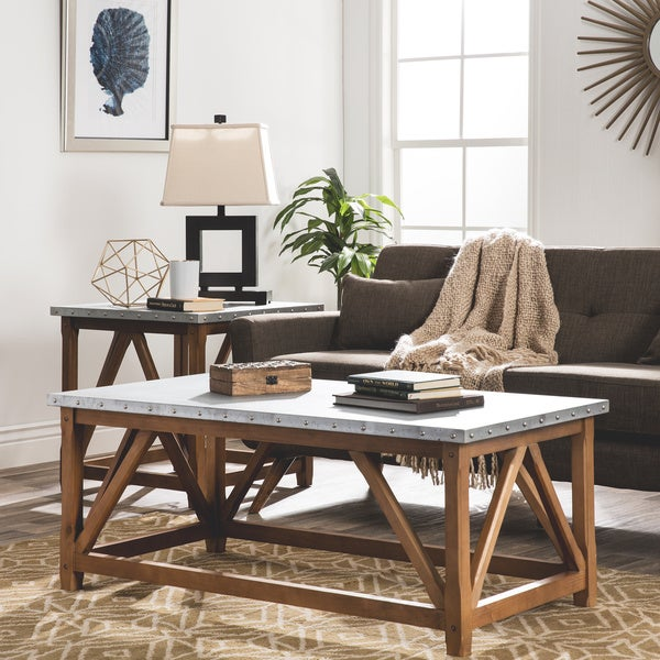 zinc top bridge coffee table - free shipping today - overstock