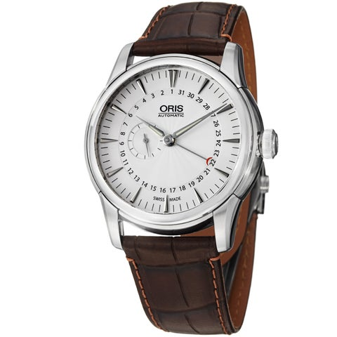 Oris Men's 'Artelier' Silver Dial Pointer Date Leather Strap Watch
