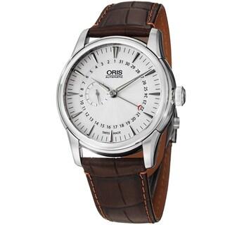 Oris Men's 'Artelier' Silver Dial Pointer Date Leather Strap Watch