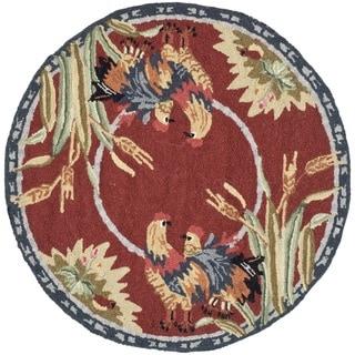 Safavieh Hand-hooked Chelsea Burgundy Wool Rug (3' x 3' Round)