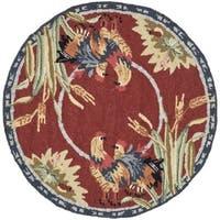 Safavieh Hand-hooked Chelsea Burgundy Wool Rug - 3' x 3' Round