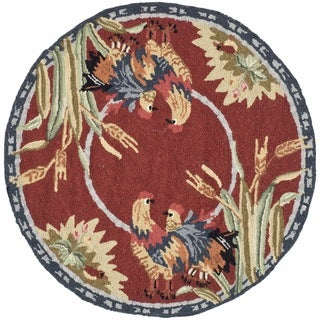 Safavieh Hand-hooked Chelsea Burgundy Wool Rug - 3' Round