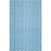 "Thom Filicia Hand-woven Indoor/ Outdoor Summer/ Blue Plastic Rug - 2'6"" x 4'"