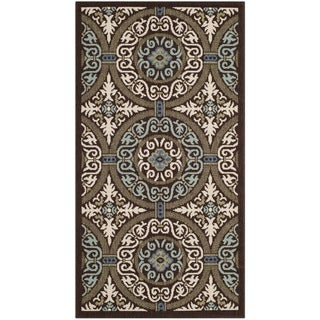 Safavieh Veranda Piled Indoor/ Outdoor Chocolate/ Cream Rug (2'7 x 5')