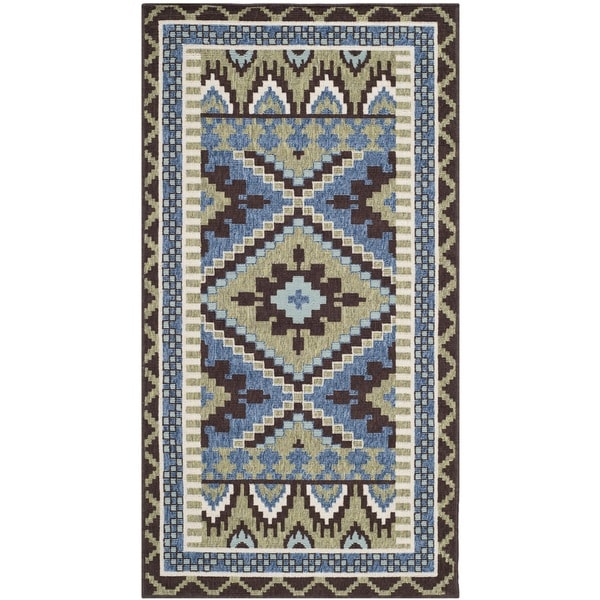 Safavieh Veranda Piled Indoor/ Outdoor Green/ Chocolate Rug - 2'7 x 5'