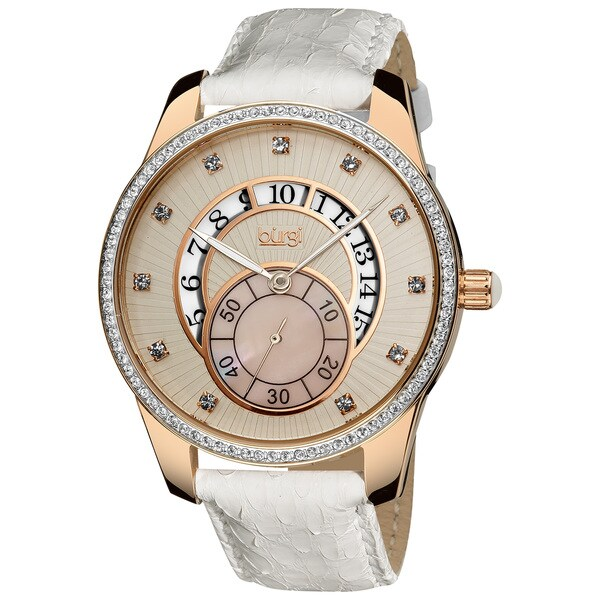 Burgi Women's Stainless Steel Mother of Pearl Leather Strap Date Watch