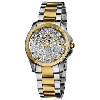 Akribos XXIV Women's Stainless Steel Crystal Pave Two-Tone Bracelet Watch