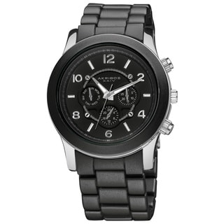 Akribos XXIV Women's Quartz Multifunction Stainless Steel Fashion Black Bracelet Watch
