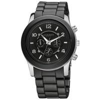 Akribos XXIV Women's Quartz Multifunction Stainless Steel Fashion Black Bracelet Watch with FREE Bangle - WHITE/silver