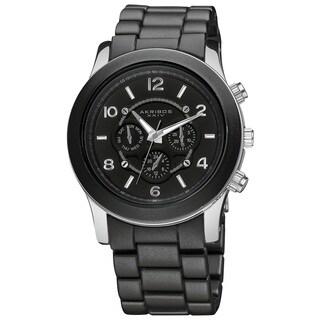 Akribos XXIV Women's Quartz Multifunction Stainless Steel Fashion Black Bracelet Watch