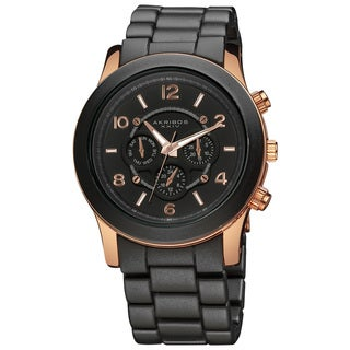 Akribos XXIV Women's Quartz Multifunction Fashion Black Bracelet Watch