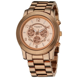 Akribos XXIV Women's Quartz Multifunction Rose-Tone Case Fashion Bracelet Watch with FREE GIFT - White