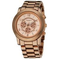 Akribos XXIV Women's Quartz Multifunction Rose-Tone Case Fashion Bracelet Watch with FREE Bangle - WHITE