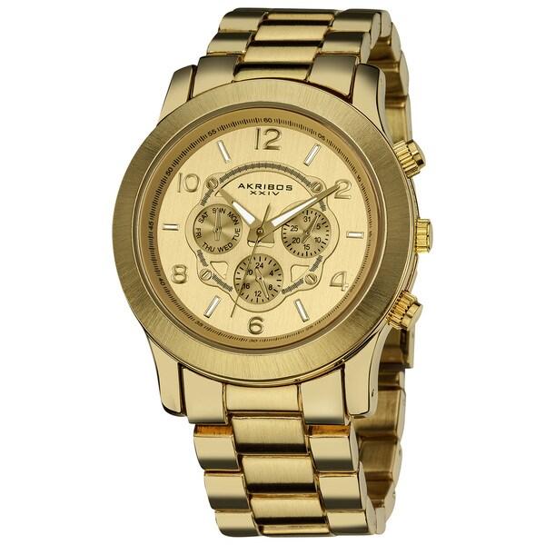 Akribos XXIV Women's Quartz Multifunction Fashion Gold-Tone Bracelet Watch with FREE Bangle