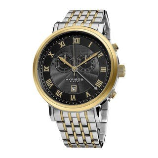 Akribos XXIV Men's Stainless Steel Swiss Collection Chronograph Watch (Option: Silver)|https://ak1.ostkcdn.com/images/products/7927383/P15303656.jpg?impolicy=medium
