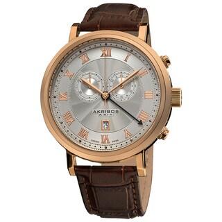 Akribos XXIV Men's Leather Rose-Tone Strap Swiss Collection Chronograph Watch - Black/Brown/Silver