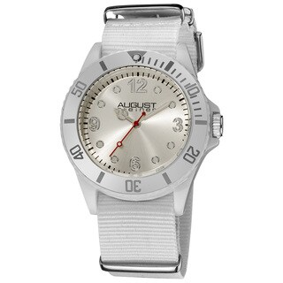 Silver August Steiner Juniors Quartz Nylon White Strap Sport Watch with FREE Bangle - RED
