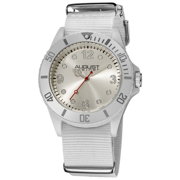 Silver August Steiner Juniors Quartz Nylon White Strap Sport Watch with FREE Bangle - RED