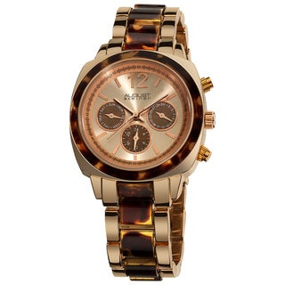 August Steiner Women's Resin Swiss Quartz Multifunction Rose-Tone Bracelet Watch