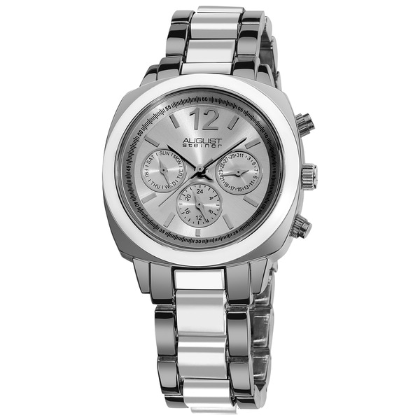 August Steiner Women's Resin Silvertone Swiss Quartz Multifunction White Bracelet Watch