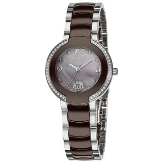 Burgi Women's Diamond Brown Ceramic Bracelet Watch with FREE GIFT - Two-Tone/Silver