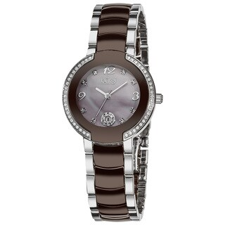 Burgi Women's Diamond Brown Ceramic Bracelet Watch - Two-tone/silver