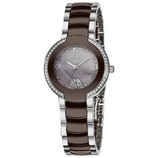Burgi Women's Diamond Brown Ceramic Bracelet Watch - Two-tone/silver