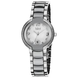 Burgi Women's Mother of Pearl Diamond Ceramic Bracelet Watch with FREE GIFT - Black/Silver/White
