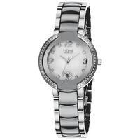 Burgi Women's Mother of Pearl Diamond Ceramic Bracelet Watch - WHITE/black/silver