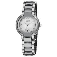 Burgi Women's Mother of Pearl Diamond Ceramic Bracelet Watch - White