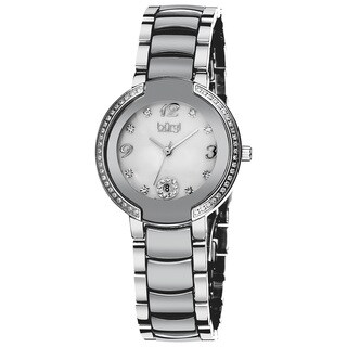 Burgi Women's Mother of Pearl Diamond Ceramic Bracelet Watch - WHITE/black/silver