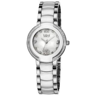 Burgi Women's Diamond White Ceramic Bracelet Watch - Black