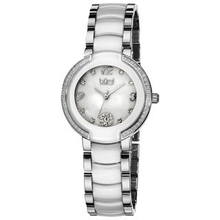 Burgi Women's Diamond White Ceramic Bracelet Watch with FREE Bangle - Black
