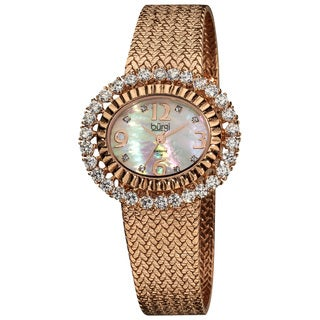 Burgi Women's Diamond Rose-Tone Mesh Bracelet Watch