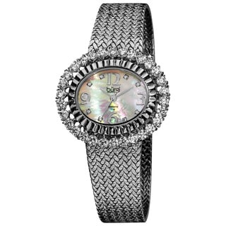 Burgi Women's Mother of Pearl Diamond Mesh Silver-Tone Bracelet Watch
