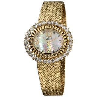 Burgi Women's Diamond Gold-Tone Mesh Bracelet Watch