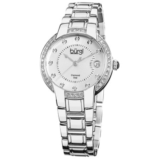 Burgi Women's Stainless Steel Crystal Diamond Date Silver-Tone Bracelet Watch