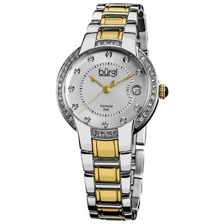 Burgi Women's Stainless Steel Diamond Date Two-Tone Bracelet Watch
