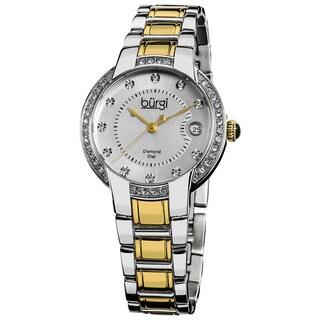 Burgi Women's Stainless Steel Diamond Date Two-Tone Bracelet Watch - Black/Gold